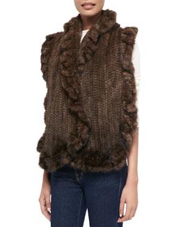 Gorski Knit Mink Fur Ruffle Shawl, Brown