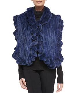 Gorski Knit Mink Fur Ruffle Shawl, Navy