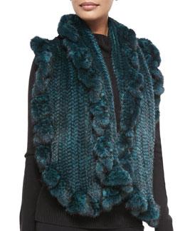 Gorski Knit Mink Fur Ruffle Shawl, Emerald