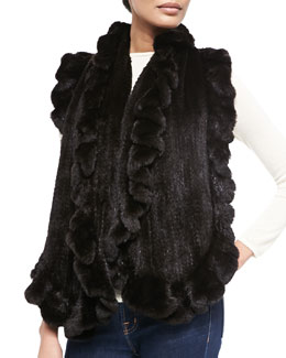 Gorski Knit Mink Fur Ruffle Shawl, Black