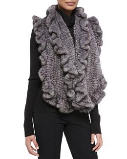 Gorski Knit Mink Fur Ruffle Shawl, Gray