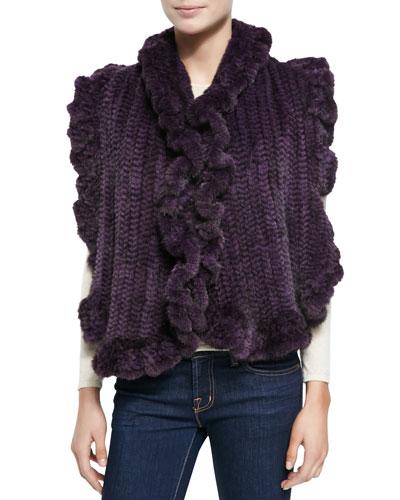 Gorski Knit Mink Fur Ruffled-Detail Scarf, Violet