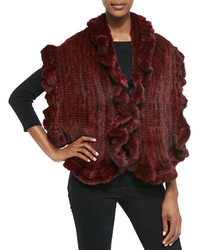 Gorski Knit Mink Fur Ruffle Shawl, Red