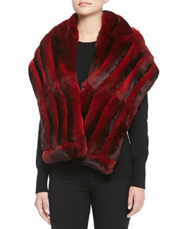 Gorski Chinchilla Fur Shawl, Scarlet