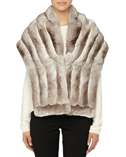 Gorski Chinchilla Fur Shawl, Beige