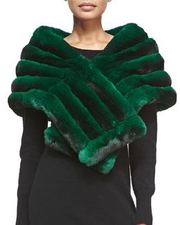 Gorski Chinchilla Fur Shawl, Green