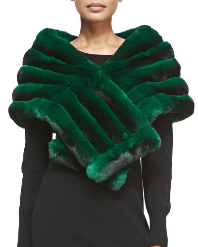 Chinchilla Fur Shawl, Green