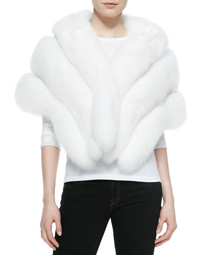Gorski Fox Fur Stole with Leather Insets, White