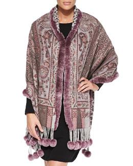Gorski Cashmere Stole with Rabbit Fur Pompoms, Purple