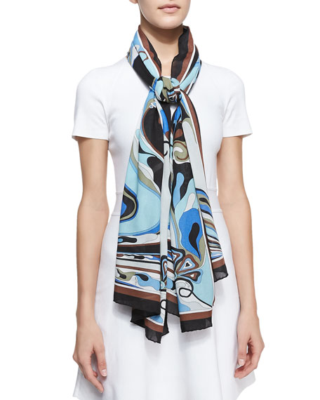 Orchidee Show Scarf, Light Blue