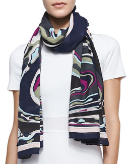 Emilio Pucci Orchidee Show Scarf, Navy