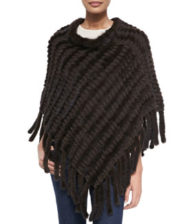 La Fiorentina Knit Mink Poncho with Tails, Brown