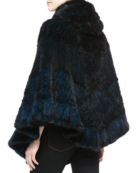 Chevron Mink Fur Cape, Blue