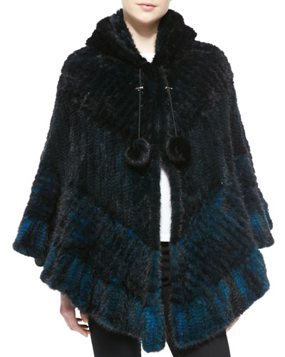 La Fiorentina Chevron Mink Fur Cape, Blue