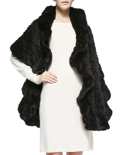 Belle Fare Knitted Mink Fur Wrap