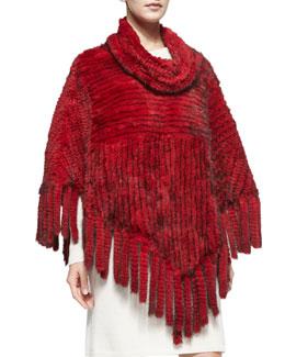 Belle Fare Knitted Mink Fur Fringe Poncho