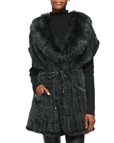 Belle Fare Knitted Mink, Fox & Knit Vest