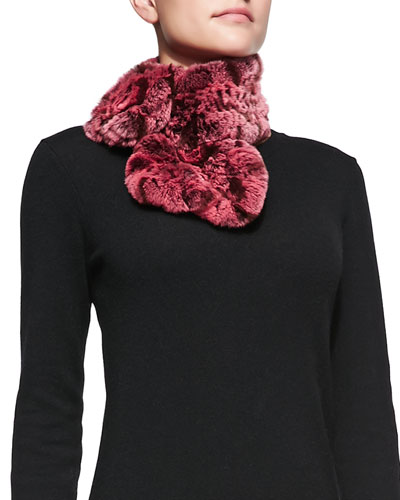 Belle Fare Rose Knitted Rex Scarf, Pink