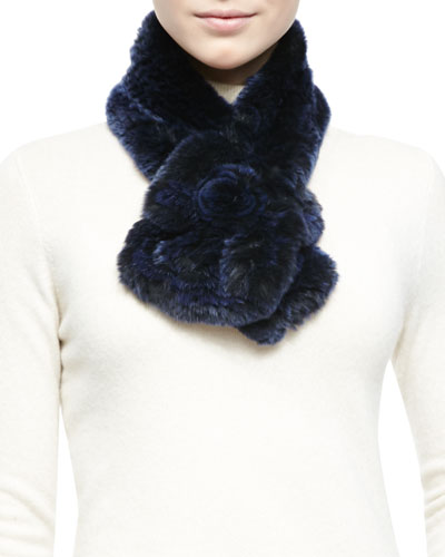 Belle Fare Rex Rabbit Fur & Knit Scarf, Navy