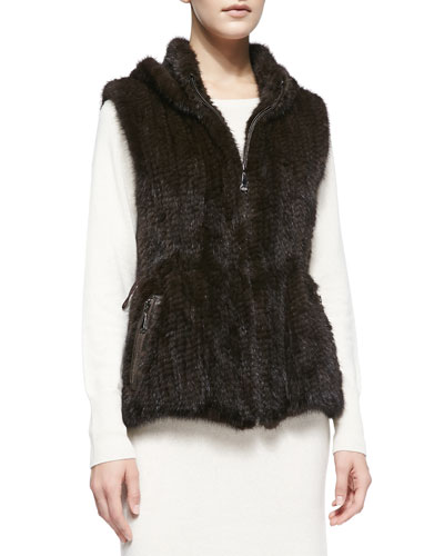 Belle Fare Knitted Mink Fur Zip Vest
