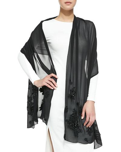 Erdem Floral-Beaded Silk Georgette Scarf, Black