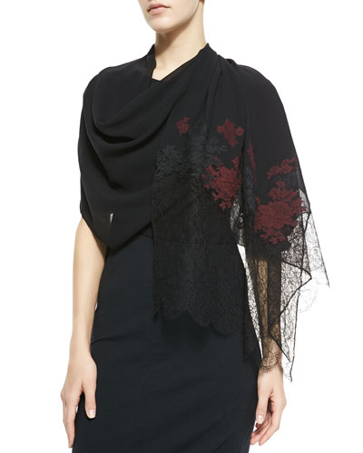 Erdem Embroidered Multi-Lace Scarf, Black/Red