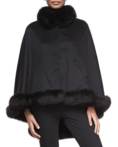 Sofia Cashmere Cashmere Fox-Fur-Trim Cape
