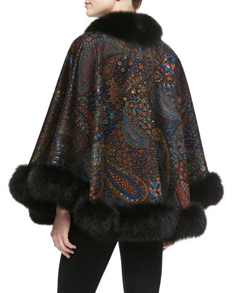 Fox Fur-Trim Paisley Cashmere Cape