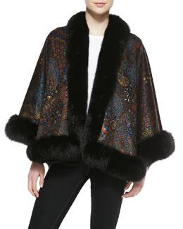 Sofia Cashmere Fox Fur-Trim Paisley Cashmere Cape