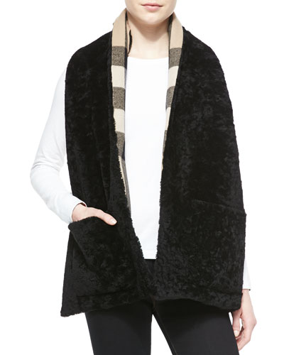 Burberry Reversible Check & Shearling Fur Stole with Pockets