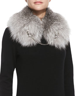 Roberto Cavalli Fox Fur Shawl with Lion Chain