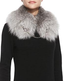 Roberto Cavalli Fox Fur Shawl with Lion Chain