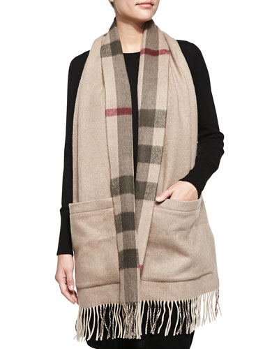 Cashmere-Blend Check Stole with Pockets, Smoked Trench