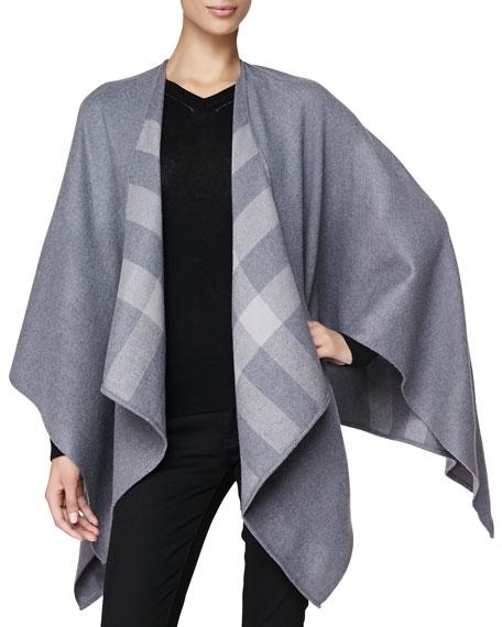 Check-Lined Merino Wrap
