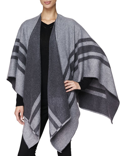 Burberry Cashmere/Wool Striped Wrap, Pale Grey
