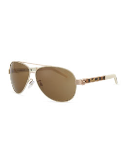 Roberto Cavalli Gorgena Leopard Yellow Golden Aviator Sunglasses