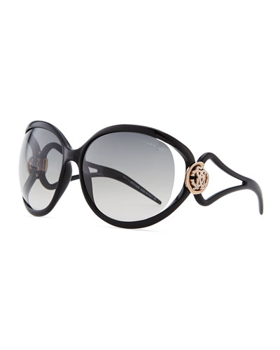 Roberto Cavalli Grafias Gradient Sunglasses with Crystal Logo