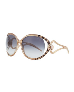 Roberto Cavalli Striped & Crystal Logo-Temple Sunglasses