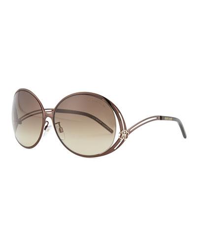 Round Metal Sunglasses, Bronzed
