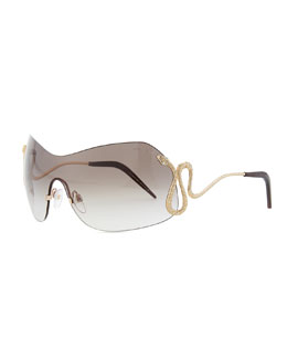 Roberto Cavalli Metal Shield Sunglasses with Crystal Snake, Golden