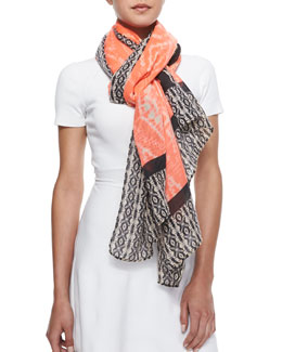 Michael Stars Tie-Dye Geometric-Print Blocked Scarf, Neon Posey