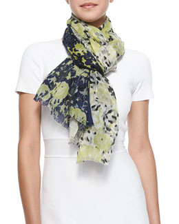 Michael Stars Fallen Flora Printed Fringe Scarf, Nocturnal