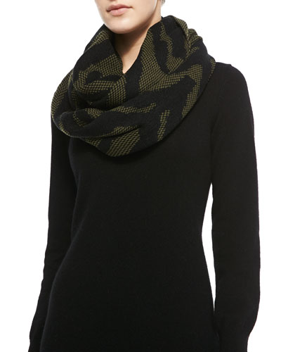 Michael Stars Wild Side Printed Infinity Scarf,Topiary