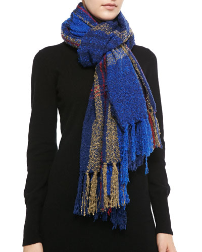 Michael Stars Softest Plaid Fringe Scarf, Imperial