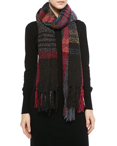 Michael Stars Softest Plaid Fringe Scarf, Black