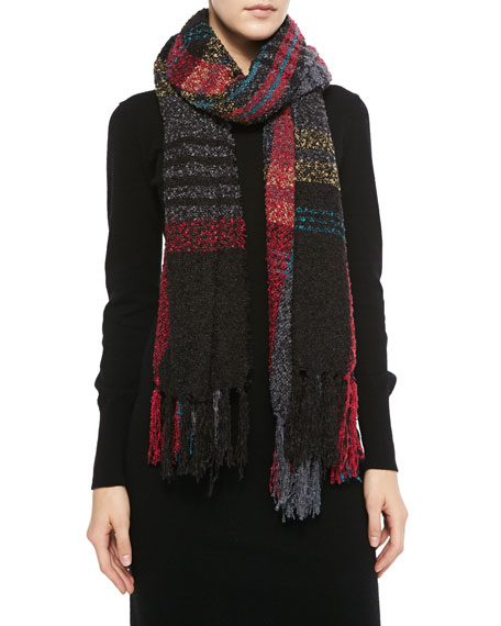 Softest Plaid Fringe Scarf, Black