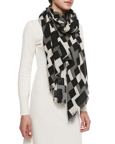 Michael Stars Geometric-Print Fringed Wrap Scarf, Black/White/Gray