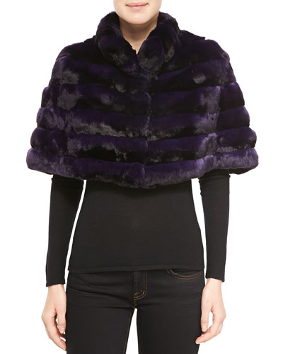 Gorski Chinchilla Stand-Collar Cape, Dark Purple