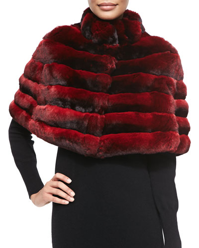 Gorski Chinchilla Stand-Collar Cape, Scarlet