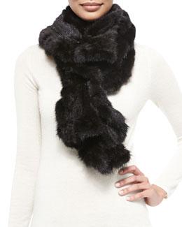 Gorski Knit Mink Fur Ruffle Scarf, Black